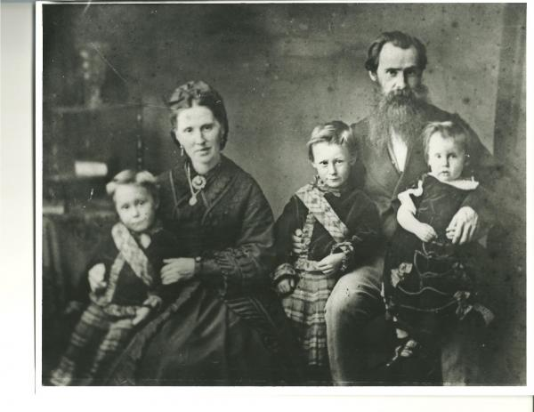 James and Jessie with their sons; Daniel, Malcolm D., and James